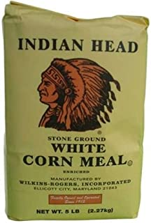 Indian Head Corn Meal Stone Ground White 5lb Bag