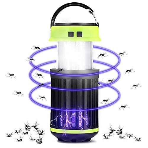 otutun Lampada Antizanzare Elettrica , Zanzariera Elettrica con Pannelli Solari e USB Ricaricabile , Lampada Zanzare Elettrico Impermeabile con Pennello Pulito per Uso Giardino Interno Esterno