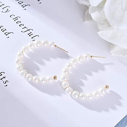 GUOZHENG Pendientes De Perlas De Moda para Mujer 3 Tamaños En Forma De C Fiesta De Cumpleaños para Niñas