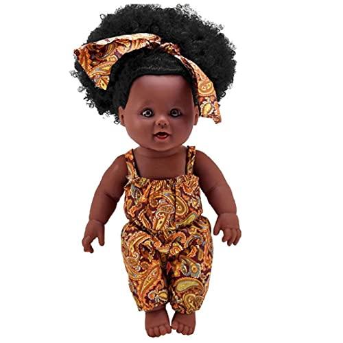 Muñecas niñas piel negra muñecas de pelo rizado muñecas Cambiable ropa simulación para bebés para el regalo de los niños