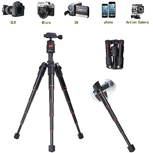 Mengen88 Aluminium Camera Statief, Lichtgewicht Statief Compact voor Reizen met 360 Graden Panoramische Shooting voor Sport Camera Telefoon