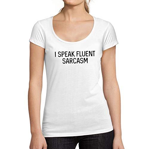 Ultrabasic - Camiseta de Mujer con Cuello Redondo Escotado Je Parle Couramment le Sarcasme Blanco