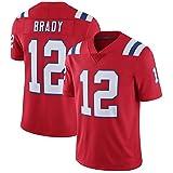 LXIN Uniforme Rugby New England Patriots #12 Brady Sweat-Shirt à Manches Courtes compétition Hommes Cadeaux Adultes,C,XL