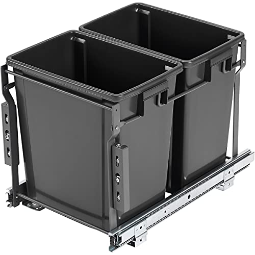 30 Liter   8 GAL Pull Out Trash Can, Dual Cabinet Trash Can Under Sink Kitchen Dual Garbage Cans for Recycling and Trash
