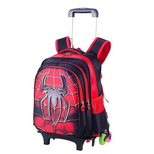 Zaino Trolley, per Bambini Scuola Trolley Elementare Borsa Zaino sei Ruote Zaino Trolley, Scuola con Pranzo removibile Astuccio Alla moda traspirante Zaino Stereo 3D Trolley ragazzo,Spiderman