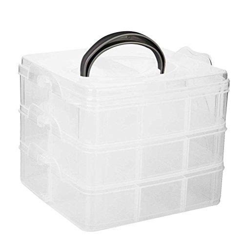 ROSENICE Aufbewahrungsbox Sortierbox mit Tragegriff Schmuckkästchen Transparent