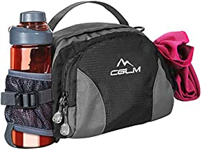 Hiking Fanny Pack with Water Bottle Holder for Men Women Waist Bag Running Waist Pack Running Belt Lumbar Pack Waterproof for Outdoor Travel Cycling Climbing Walking for iPhone Samsung Phones Black