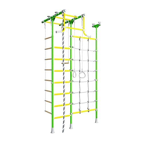 Metall Sprossenwand für Kinder Merkury 2, schwedische Leiter + Klimmzugstange + Kletternetz, grün