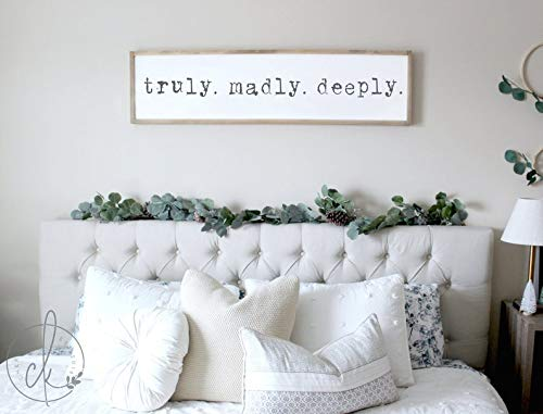 Teisyouhu Truly Madly Deeply Sign | Master Bedroom Wall Decor | Master Bedroom Sign | Bedroom Wall Art | Wood Framed Signs | Sign for Bedroom