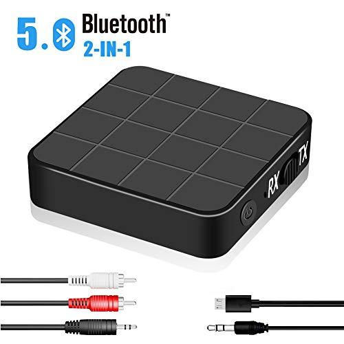 Adattatore Bluetooth 5.0 Trasmettitore Ricevitore,2 in 1 mini Adattatore Audio Bluetooth,Cavo AUX e RCA da 3,5 mm, per Cuffie Stereo Portatili TV