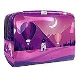 Bolsa de maquillaje portátil con cremallera bolsa de aseo de viaje para las mujeres práctico almacenamiento cosmético molino de viento noche púrpura