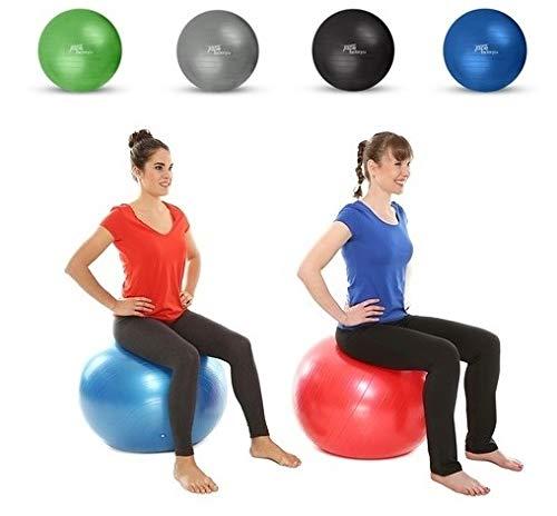 Tapefactory24 Gymnastikball inkl. Pumpe - Hochwertiger Fitness- und Sitzuball von 55 cm bis 85 cm Durchmesser Größen und 4 erhältlich (Schwarz, 55)