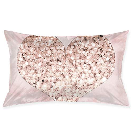 Shanzhi - Funda de almohada para cojín o cojín con diseño de corazón, diseño de corazón oblongo, color dorado rosa