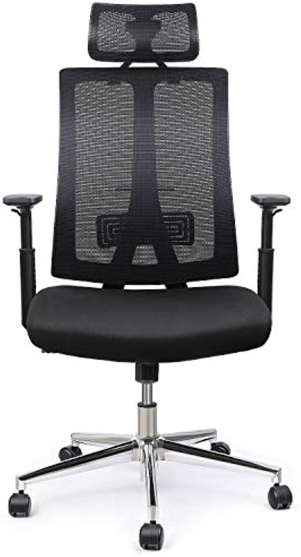 INTEY Bürostuhl, Schreibtischstuhl, ergonomischer Computerstuhl, Hhenverstellbar, Lendenstütze und Kopfstütze, Belastbar 125Kg