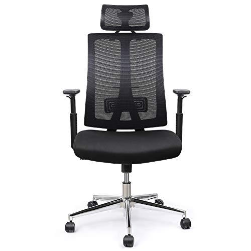 INTEY Bürostuhl, ergonomischer Schreibtischstuhl,Verstellbare Rückenlehne und Armlehne, Bürosessel mit Wippfuktion(90°~110°), Belastbar 125Kg
