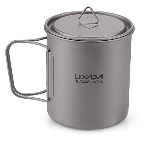 Sale!! Lzpff Titanium Cup Portable Camping Picnic Water Cup Mug with Lid Foldable Handle 300ml / 350...
