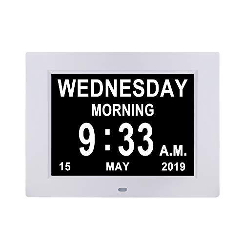 [Remote Control] Digital Day Calendar Clock 12 Alarms Non-Abbreviations Day & Month Electronic Dementia Alzheimer Vision Impaired Memory Loss Desk Wall Clock
