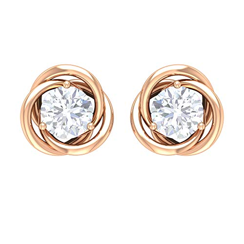 Pendientes de tuerca para mujer con diamante redondo de 0,26 quilates, oro de 14 quilates, con certificado IGI, para cumpleaños, aniversario, flor trasera de rosca Rosa