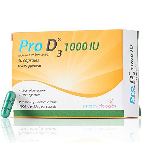 Pro D3 1000 IU (Vitamin D3-1,000 IU / 25mcg) Vegetarian Society Approved - Gluten Free - Salt Free - Yeast Free - Gelatin Free - SOYA Free - Peanut Free - Preservatives Free - Alcohol Free - Halal