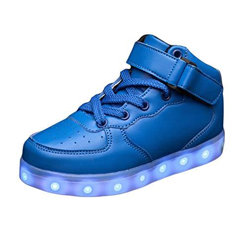 JIER Unisex Kinder Turnschuhe Licht LED Sneaker USB Aufladen Shoes Schuhe mit LED Leuchtende Blinkende Low-top Sneaker für Mädchen und Jungen (33,Blau)
