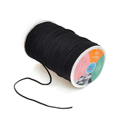 Hollosport Round 3mm Elastic Cord for Masks, 1/8 Inch Soft Thin Elastic String Rope Band for Sewing (Black, 100M)