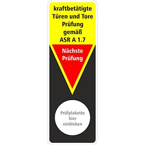 100 x Grundplaketten Prüfplakette zur Prüfung von kraftbetätigte Türen und Tore Prüfung gemäß ASR A 1.7 / 40 x 115 mm