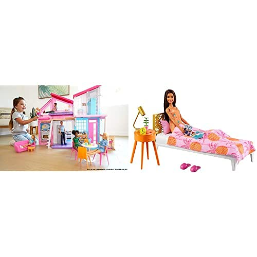 Barbie Casa Malibu (Mattel FXG57) Y Barbie en Casa Muñeca Morena con Set de Juguete de Habitación, con Cama y Accesorios (Mattel GRG86)