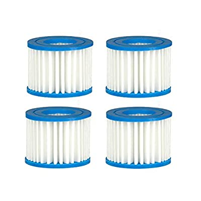 Ltsaxh Portable Hot Tub Spa Filter Replacement Type Ⅵ Cartridge for Bestway, Lay-Z-Spa, Coleman SaluSpa 90352E 58323, 4-Pack