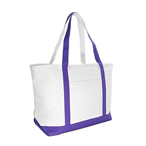 DALIX 23' Premium 24 oz. Cotton Canvas Shopping Tote Bag in Purple