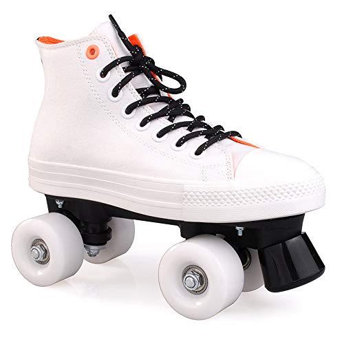 SSCYHT Quad Rollschuhe Rollschuhe für Kinder Kinder - Mädchen und Jungen - Kinder Rollschuhe - Quad Derby Rollschuhe für Jugendliche,Weiß,38