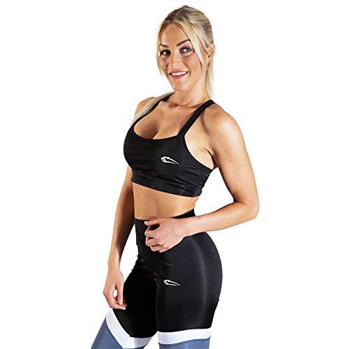SMILODOX Sport Bra Cross | Fitness-BH ohne Bügel | Starker Halt im Training | Bustier für Pilates Yoga Gym Fitness | Soft Büstenhalter, Farbe:Schwarz, Größe:L