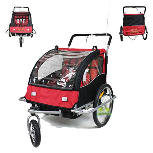 QQLOV Kids Bicycle Trailer 2 in 1 Bike Trailerjogger 2 Seats Child Stroller with Suspension Mountain Bike Trailer Transport Trolley Red