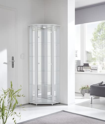 Luxury Space Corner LED Glass Display Cabinet- In Silver, White & Beech (White)
