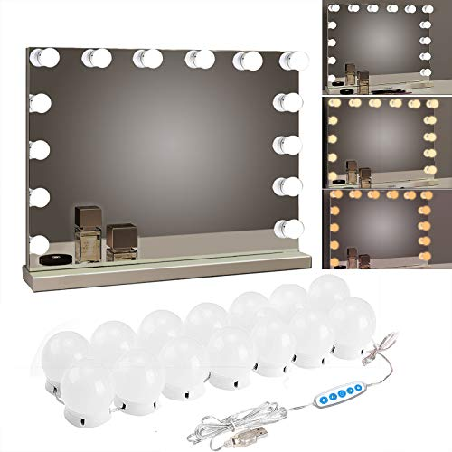 SICCOO Makeup Vanity Lights for Mirror, Hollywood Style LED Vanity Mirror Lights with 14 dimmable Bulbs, USB Cable, White