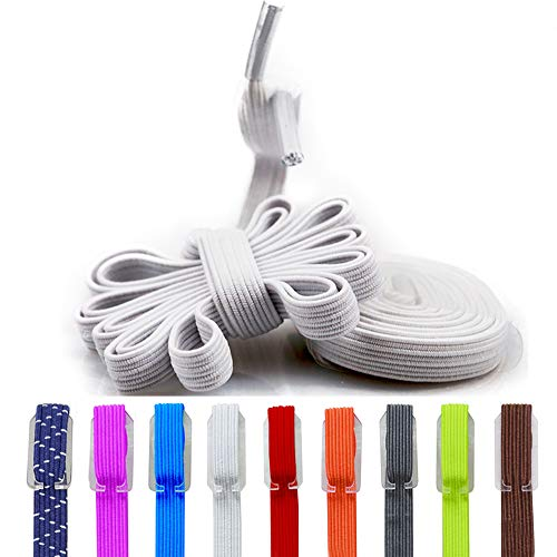 Elastic No Tie Shoe Laces, Replacement Shoelaces, Flat Elastic Shoe Laces for Running, Athletic, Mens, Womens, Kids