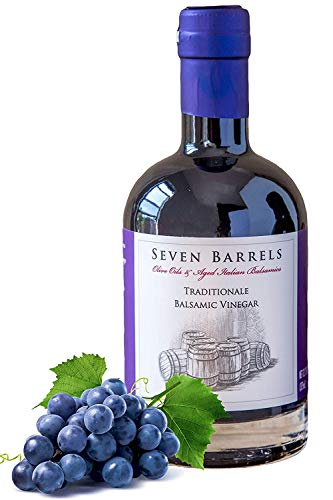 Seven Barrels Traditionale Aged Balsamic Vinegar | 12.7 Ounces | Wooden Barrel Aged Gourmet Balsamic Vinegar | Great for Salad Dressings, Steaks, and Pairing with our EVOO Infused Olive Oils!