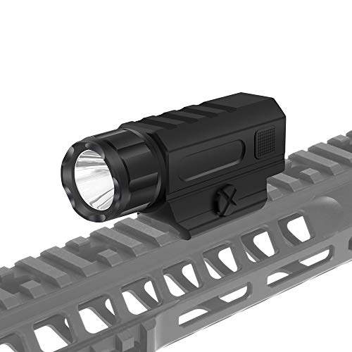 Tactical Gun Light Rail Mounted Weapon Light Flashlight with 1 x CR123A Battery Handgun Torch Light