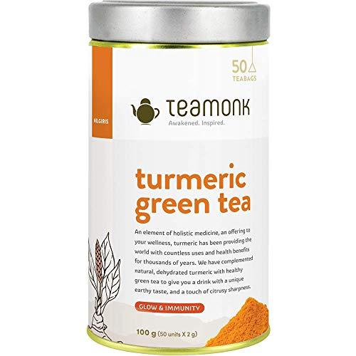 Teamonk Nilgiri tè alla curcuma - 50 bustine di tè | erbe antiche | tè per la pelle luminosa | tè per aumentare l\'immunità | tè alla curcuma naturale | senza additivi