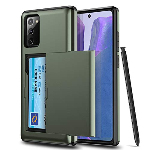 SUMart Samsung Note 20 Case with Card Holder Dual Layer Hybrid Wallet Case with Card Slot Holder Shockproof Cover for Note 20 (Army Green)