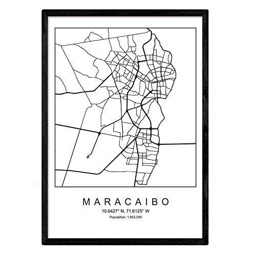 Lámina Mapa de la Ciudad Maracaibo (2) Estilo nordico en Blanco y...