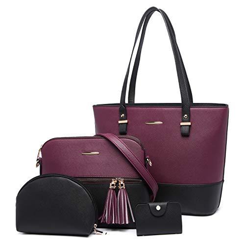 Women Handbags Shoulder Bag Ladies Fashion Pretty Color Combination Handbag PU Leather Tote Messenger bag 4 Pcs Set for Shopping Travel Gift (Purple/Black)