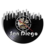 MASERTT Reloj de Pared 3D con Paisaje Urbano de San Diego, Reloj de Vinilo con diseño de Horizonte, Reloj de Pared Decorativo Retro Hecho a Mano, Recuerdo turístico