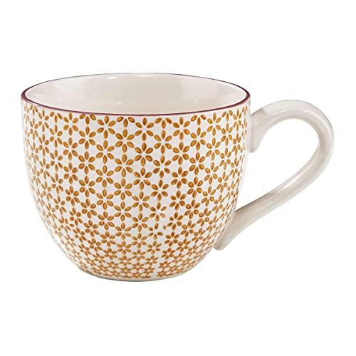 BUTLERS Retro Tasse 550ml - Gelbe Kaffeetasse Vintage Design – Hochwertige Porzellantasse, Kaffeebecher, bunte Teetasse