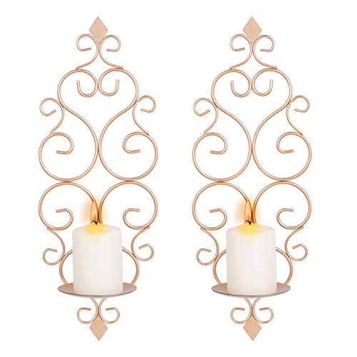 Sziqiqi Iron Wall Candle Sconce Holder Set of 2 Hanging Wall Mounted Pillar Candle Sconces Holder, Wall Sconces Decor for Bedroom Dining Room Living Room Bathroom, Rose Gold
