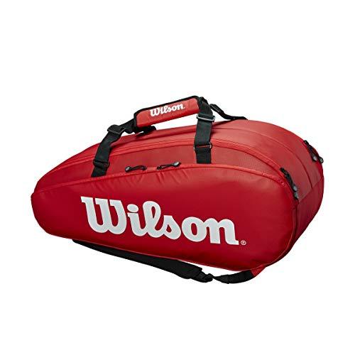 Wilson Tour 2 Comp Large Bolsa de tenis, para hasta 9 raquetas, unisex, rojo