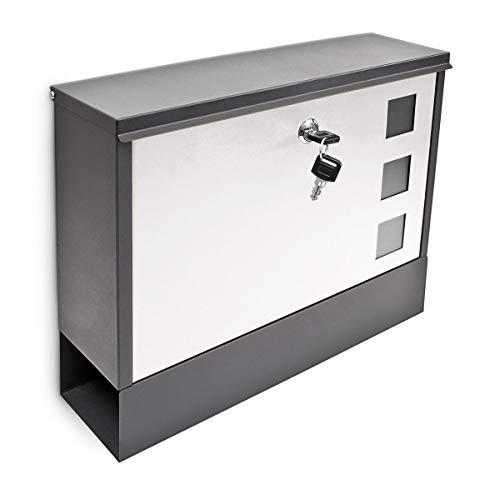 Design Briefkasten Metall 36x30cm Schwarz-Weiß