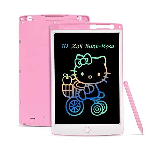 Lavagna da scrittura LCD schermo variopinto da 11 pollici, cancellabile LCD scrittura tablet senza carta giocattolo regalo per disegnare scrivere (rosa) (10 pollici Bunt-Rosa)