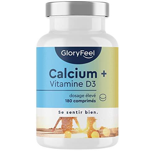 Calcium Vitamine D, 1000mg Carbonate de Calcium + Vitamine D3 1000 UI, 180 Comprimés (3 Mois), Maintien d'Os, de Dents et de Muscles Normaux, Calcium Minéral Complément Alimentaire