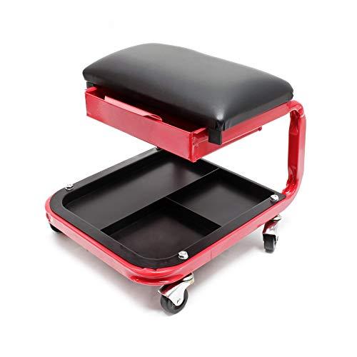 Werkstatt Rollsitz mit gepolstertem Sitz, 3 Ablagefächer und Schublade, belastbar bis 136kg, 4 Räder