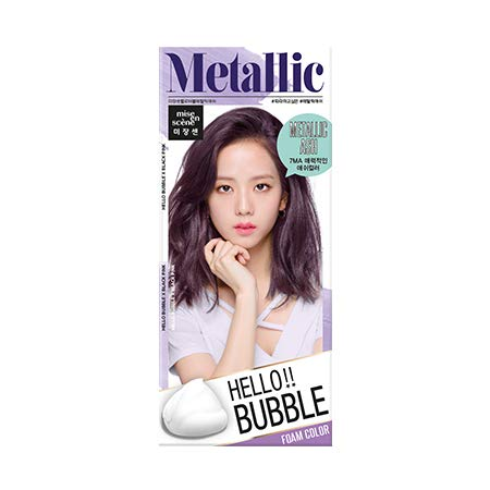 Easy Hair Coloring, mise en scene Hello Bubble Foam Color Ash Lavender Purple [7MA Metallic Ash], Self Care DIY Hair Coloring Amore Pacific